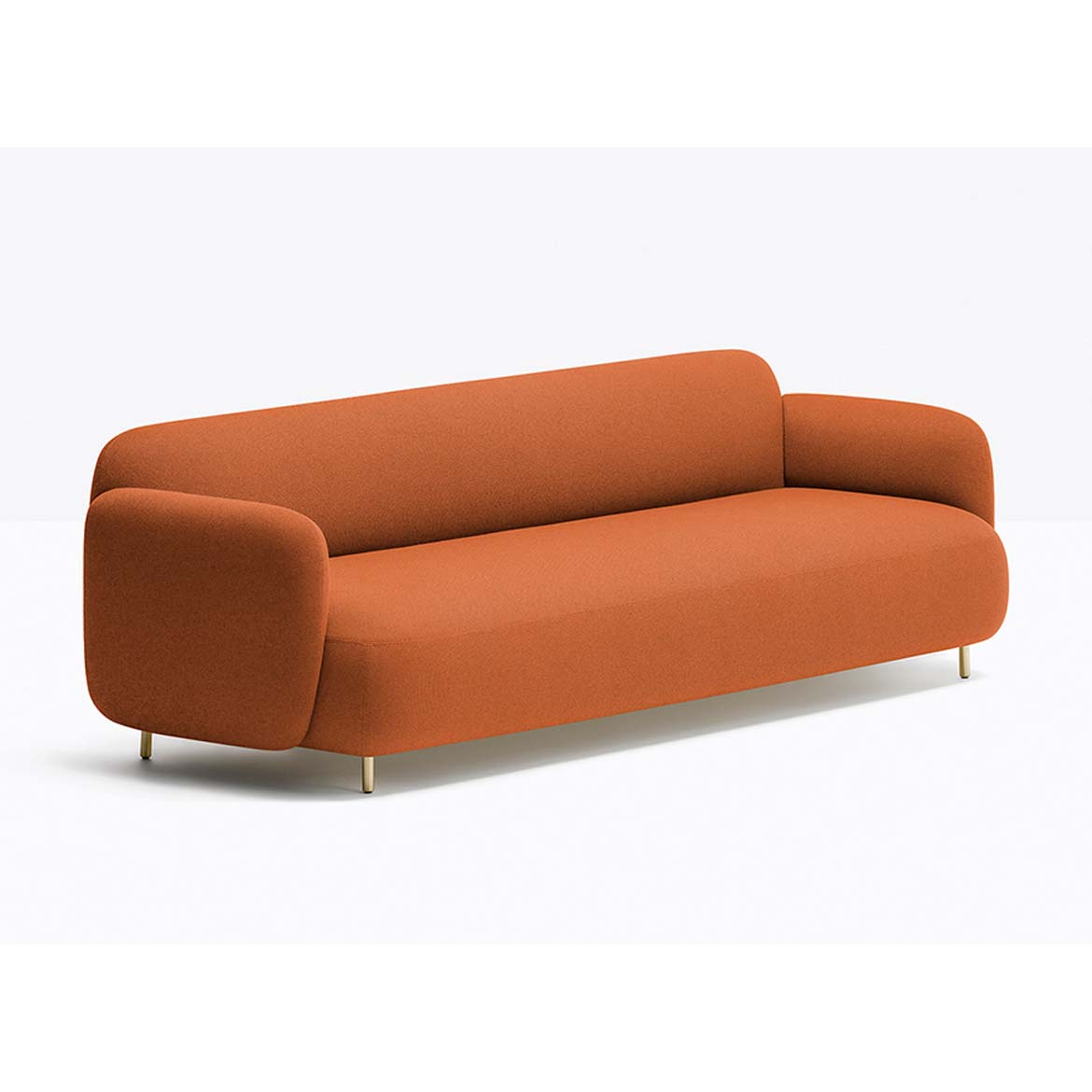 Three-seater sofa with upholstered body and powder coated metal frame. Avaliable in many colours and finishes.