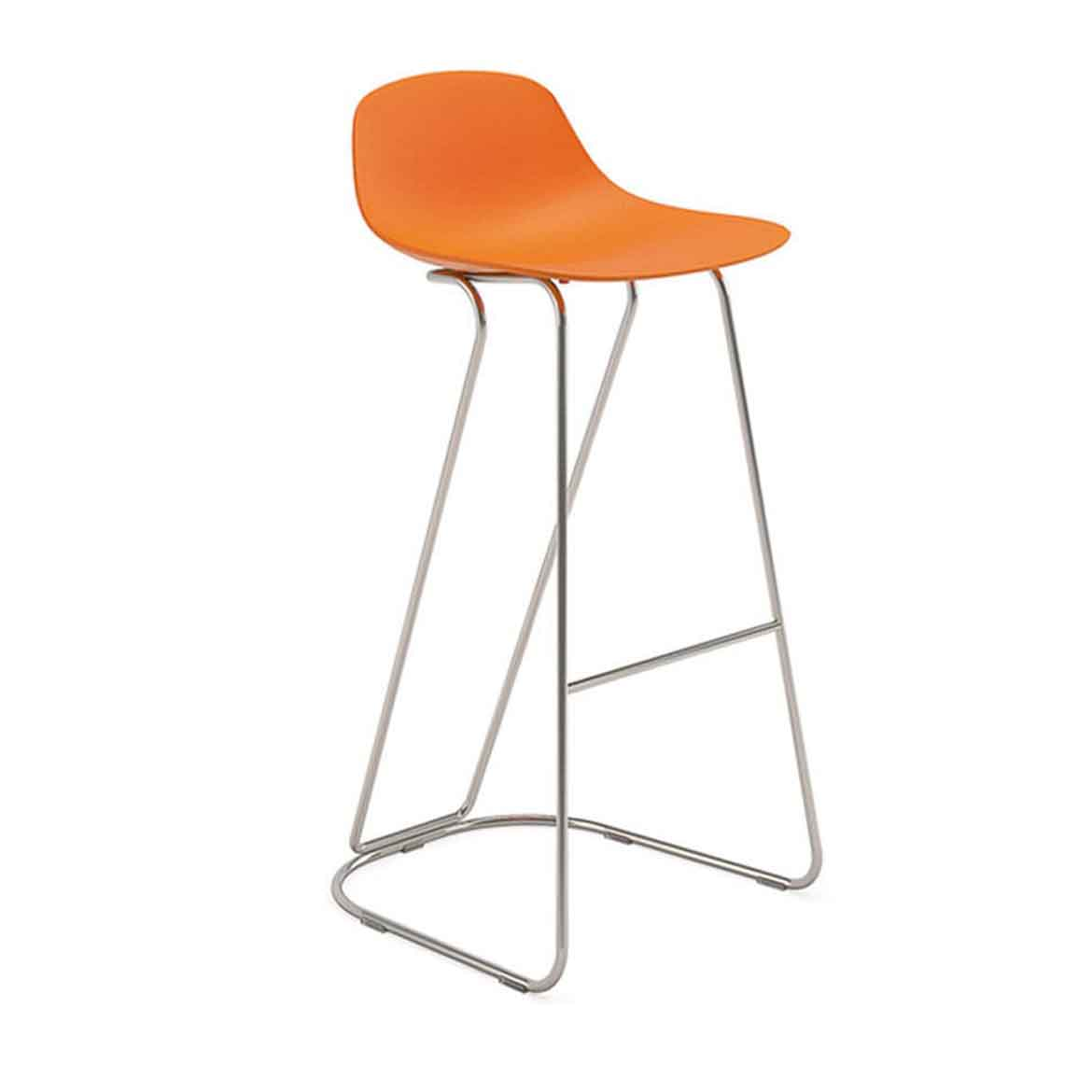 Dandy barstool is with plastic shell and painted steel frame in many different colors.