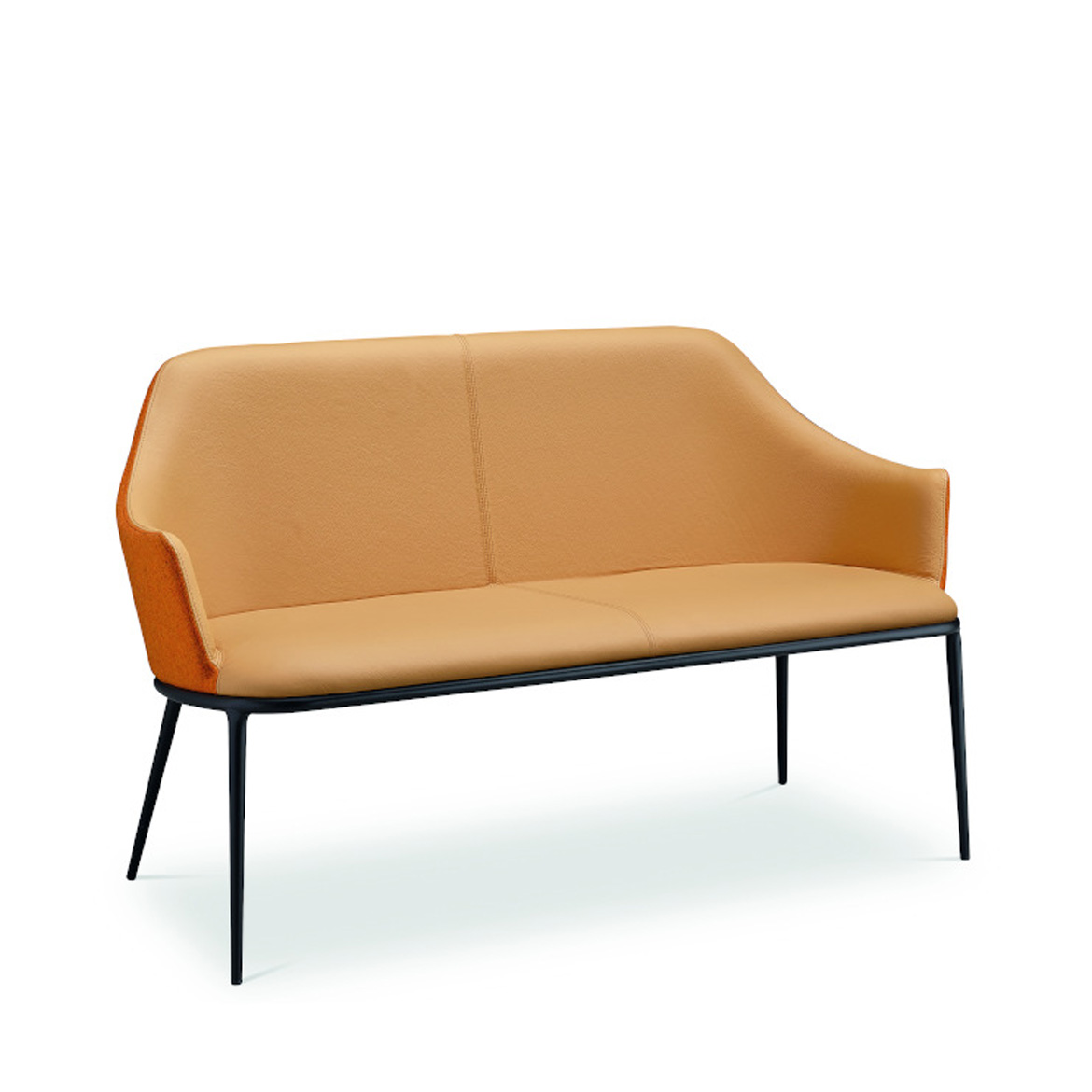 Two seats sofa with four-legd steel base in lacquered steel. Seat and back upholstered in fabric, faux leather or leather. Seat and back can be configured in different colors and materials.