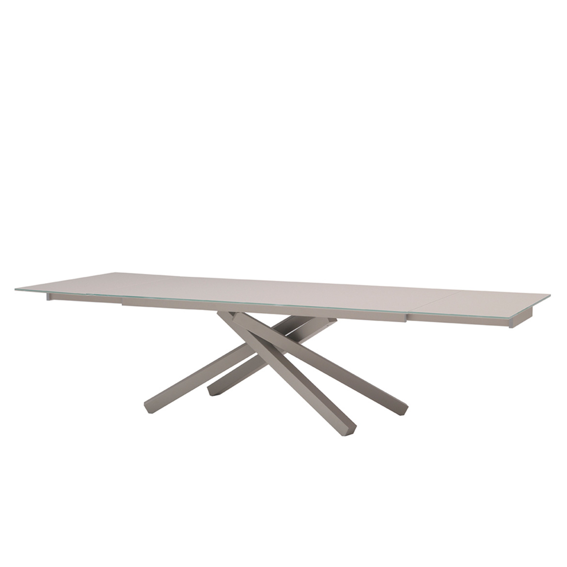 Extendable dining table. Avaliable with glass, creamic or wooden top. Base is powder coated metal.
