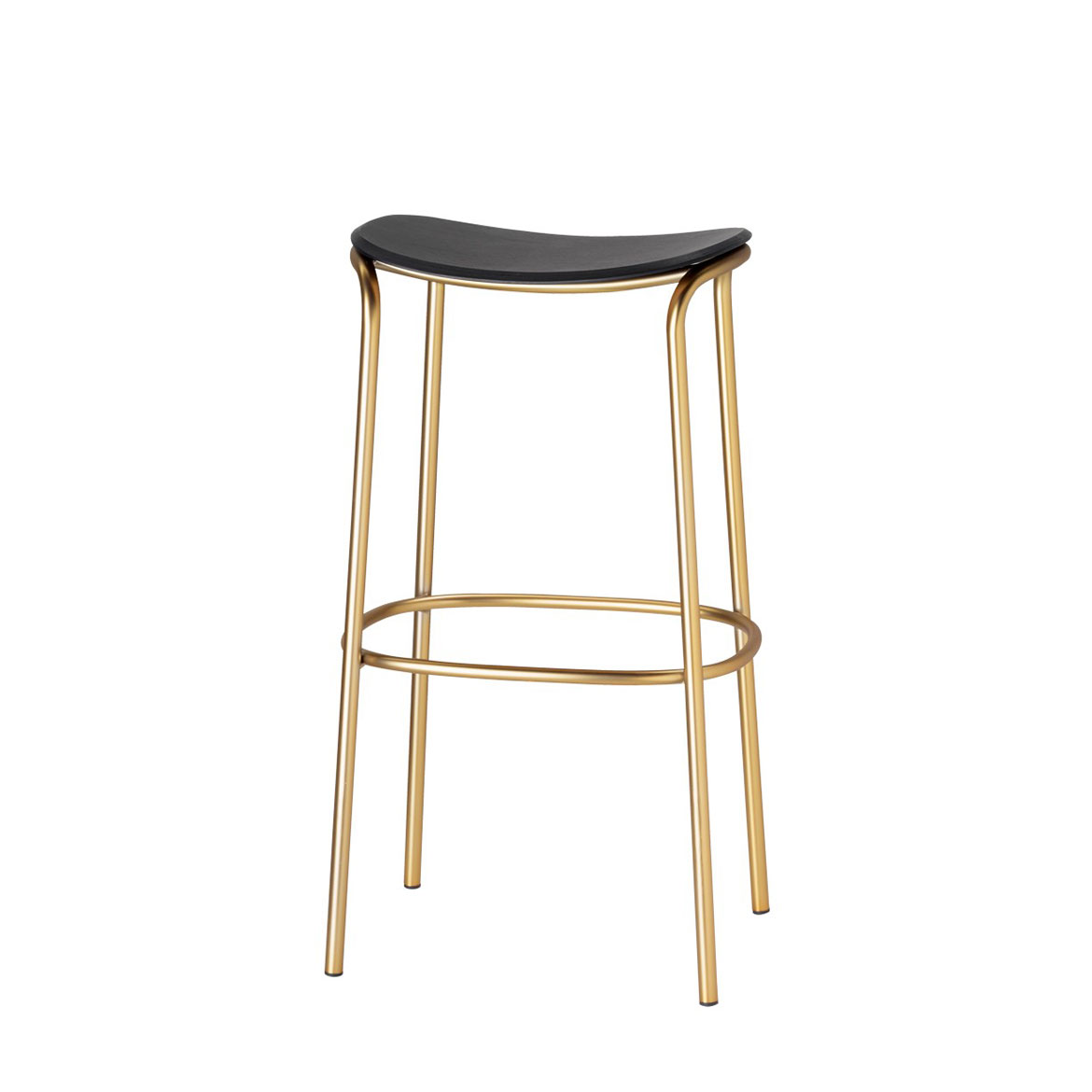 Barstool with powder coated metal frame. Avaliable with wooden, upholstered or metal seat. Comes in two hights: 77 or 67 cm